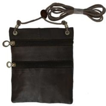 Small Soft Leather Cross Body Purse-Brown Color