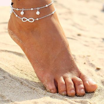 Infiniti Pendant Cute Women Ankle Bracelet Ladies Anklet Ankle Chain Leg Jewelry Gold Silver Color
