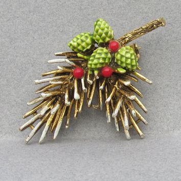Christmas Pin Signed ART Pine Tree Branch & Cones Enamel