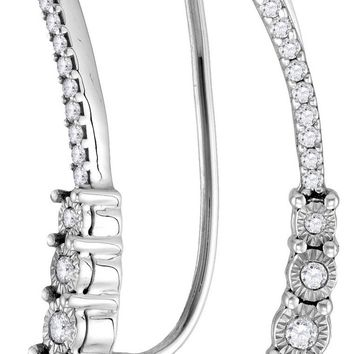 Sterling Silver Womens Round Diamond Climber Earrings 1/4 Cttw
