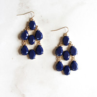 Jeweled Drop Earrings in Navy