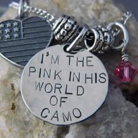 I'm The Pink in HIs World of Camo Handstamped by WireNWhimsy