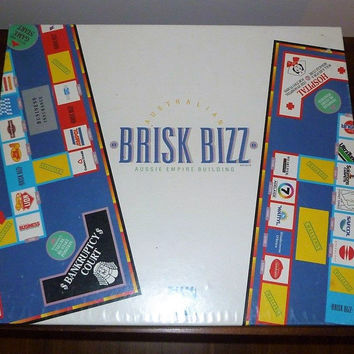 "Vintage 1987 ""Brisk Bizz"" Board Game Made in Australia / Monopoly Styled Board Game / Australian Businesses / Rare Board Game"