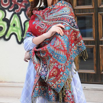 Fashion Women's Floral Ethnic Scarf Cape Wrap Shawl