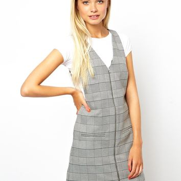 ASOS Shift Dress In Check With Zip Front