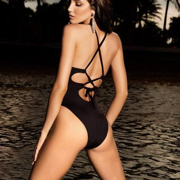 Designer Black Mesh Swimsuit