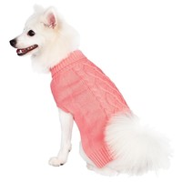 Blueberry Pet 14-Inch Back Length the Classy Cable Knit Rosy Pink Dog Sweater Clothes for Dogs