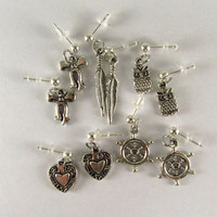 Dangle Earrings Set of 5 Owl and Bow and Feather and Helm and Heart