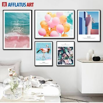 Pink Beach Flamingo Balloon Sea Landscape Wall Art Canvas Painting Nordic Posters And Prints Wall Pictures For Living Room Decor