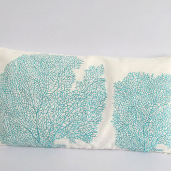 aqua blue coral pillow 12X18 inch coastal by Comfyheavenpillows