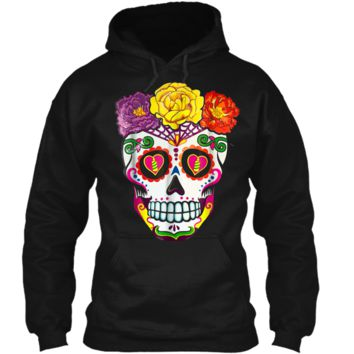 Colorful Flower Sugar Skull Day Of The Dead Costume  2 Pullover Hoodie 8 oz