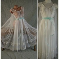 "Spectacular Vtg Sheer Bridal White Waterfall INTIME Nightgown 300"" Sweep OSFM"