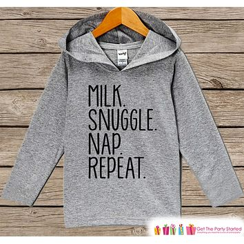 Funny Kids Shirt - Milk. Snuggle. Nap. Repeat. Hoodie - Boys or Girls Shirt - Grey Pullover - Gift Idea for Baby, Infant, Kids, Toddler