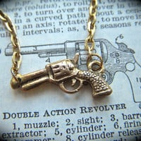 Tiny Gold Gun Necklace Antiqued Finish Petite Size Goldtone Costume Jewelry