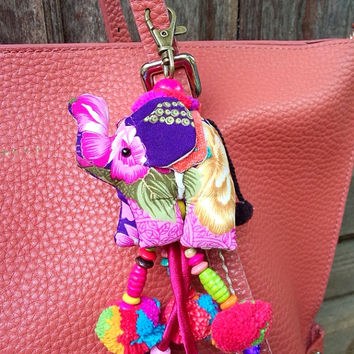 Elephant keychain, Animal keychain, Stuffed elephant, Elephant fabric, Key ring, Gift, Bag