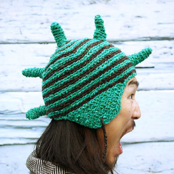 Funny Crochet Hat. Party Hat. Boho Hat. Festival Hat. Elf Hat. Goblin Hat. Costume Hat. Funny Photo Props. Ear Flap Style Hat. Animal Hat.