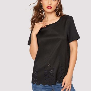 Scallop Edge Laser Cut Solid Top