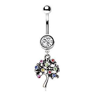 316L Stainless Steel Fruiting Tree of Life Dangle Navel Ring