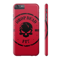Drop Dead Fit Red Grunge Skull Phone Case