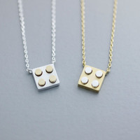 Little Lego Necklace -  Available color as listed ( Gold, Silver )