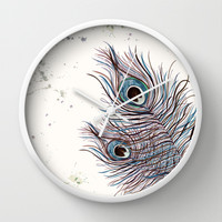 *** BOHO PEACOCK *** Wall Clock by Monika Strigel