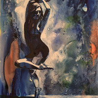 Watercolor painting of ballerina in pointe shoes dancing.  Painted on YUPO synthetic paper.  Balerina painting.  Watercolor of ballerina