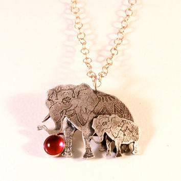 Circus Mama & Baby Elephant Necklace with Ruby or Onyx- Sterling Silver- Bronze Chain- Antique Finish- Mother's Day Gift- Animal Lover