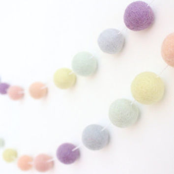 Pastel Rainbow- Nursery Decor- Baby Room Decor-Garland-Pom Pom Bunting- Baby Shower Decor- Pastel Girl Decor-Rainbow baby- Pastel Nursery