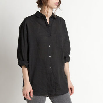 Vintage 90s Black Linen Oversized Long Sleeve Shirt | M/L