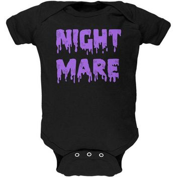 DCCK8UT Halloween Nightmare Horror Purple Dripping Text Soft Baby One Piece