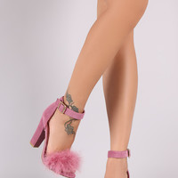 Shoe Republic LA Faux Fur Ankle Strap Dress Heel