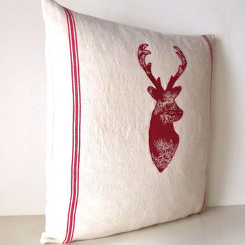 Large French Applique Stag Deer Reindeer Linen Toile Red Christmas Pillow Cushion Pillow Coussin
