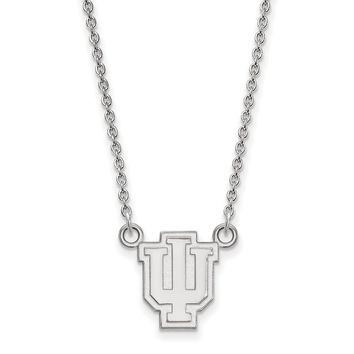 Indiana University Necklace in Rhodium Flashed Sterling Silver - Cable Chain