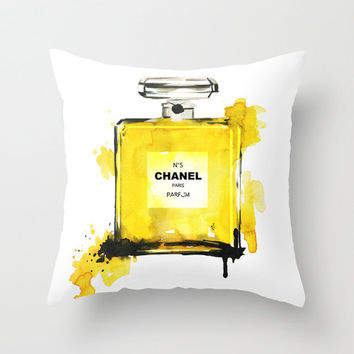 Chanel N5 perfume - throw Pillow - Home Decor