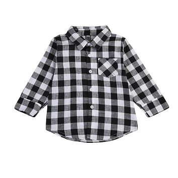 New Style Fashion Kids Boys Girls Clothes Long Sleeve Shirt Plaids Checks Tops Blouse Casual Child Clothing