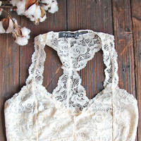 Neutral Racerback Lace Bralette in Cream