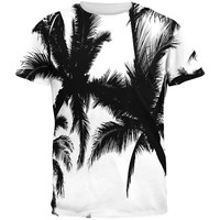 Black And White Palm Tree Silhouette All Over Adult T-Shirt