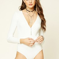 Ribbed Surplice Bodysuit