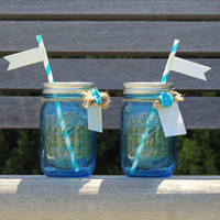 Blue mason jar tumblers, wedding mason jars, small mason jars, party mason jars, mason jar with straws
