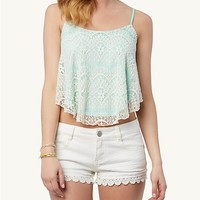 Lace 2-Tone Crop Swing Cami
