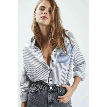 Patchwork With Pocket Stripes Shirt [7086229249]