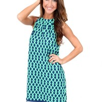 Navy And Green Tied Together With A Smile Dress   Monday Dress Boutique
