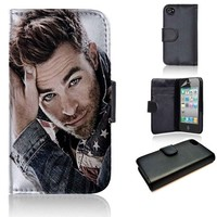 Chris Pine | Actor | custom wallet case | custom iPhone 4/4s 5 5s 5c 6 6+ case | custom samsung galaxy s3 s4 s5 s6 case |