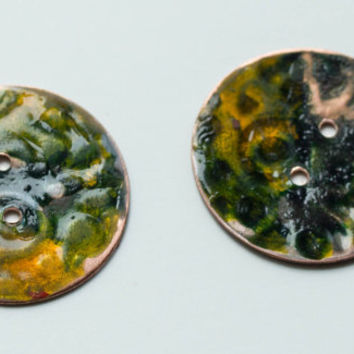 Hand made Copper button green and gold