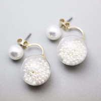 Front and Back Pearl Ear Jackets, Glass balls ear jacket, tiny pearls