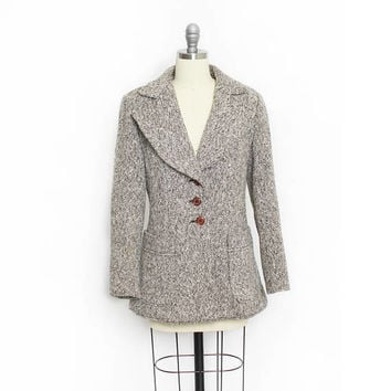 Vintage 1960s Jacket - IRISH WOOL Tweed Equestrian Fitted Blazer - Small