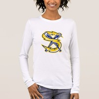 Crossed Baseball Bat With Electric Lightning Bolt Long Sleeve T-Shirt