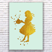 Alice in Wonderland Teapot Gold Art Print in Color Mint Instant Download Printable