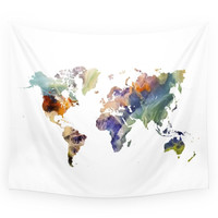Society6 World Map Painting Wall Tapestry