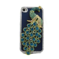 BastexWireless TM: New Luxury Premium PEACOCK BLUE case Rhinestone for APPLE Iphone 4 / 4s / 4g at&t / verizon / sprint Hard Cover Designer Bling Crystal Case Handmade Peacock + Bastexwireless cleaning cloth